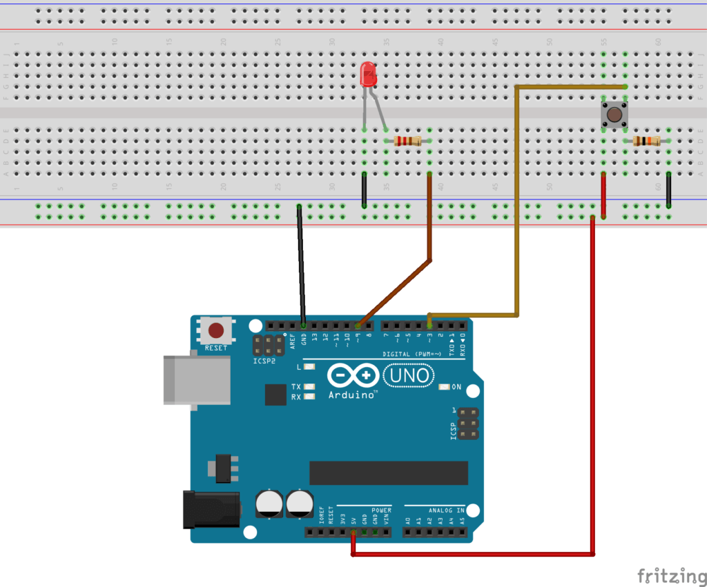 Arduino Schematics - Button on Interrupt pin and LED