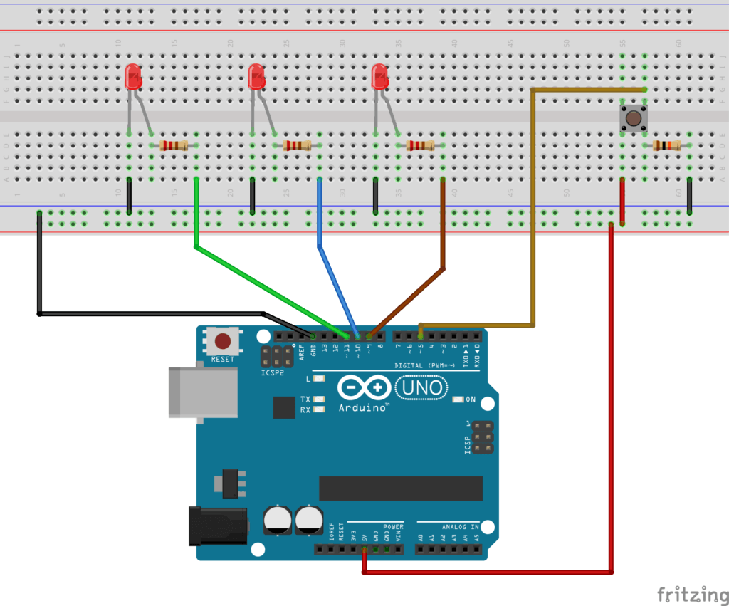 Arduino Schematics - 3 LEDs and a push button
