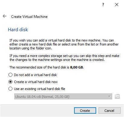 Create Virtual Hard Disk for a VM