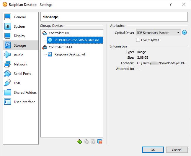 VirtualBox Settings - Raspbian Desktop ISO Selected