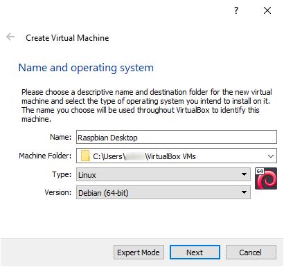 Raspbian Desktop VM Name