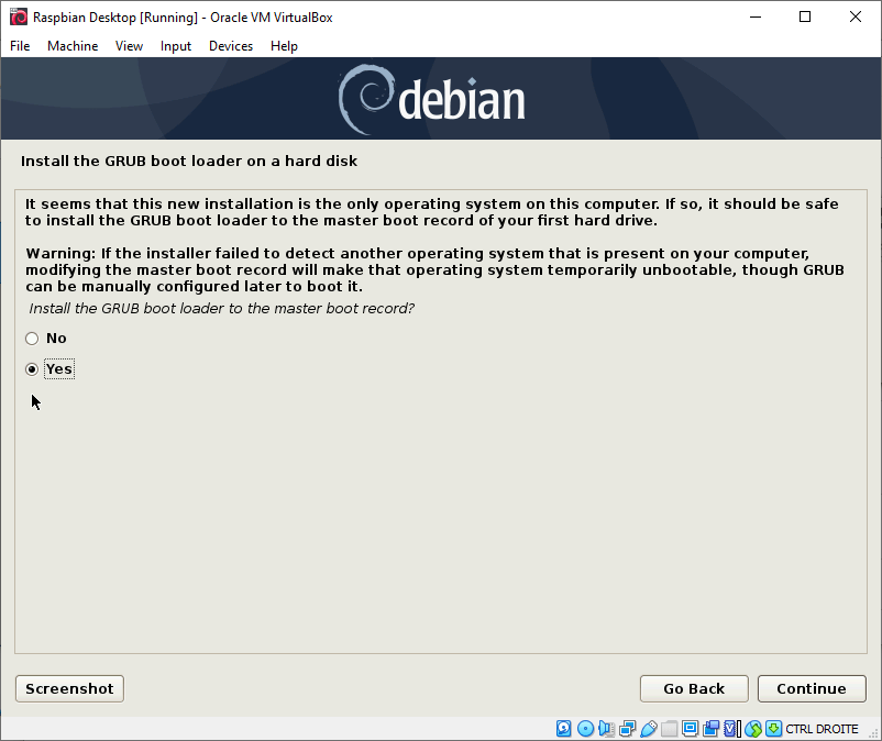 Install GRUB on hard disk - Raspbian Desktop