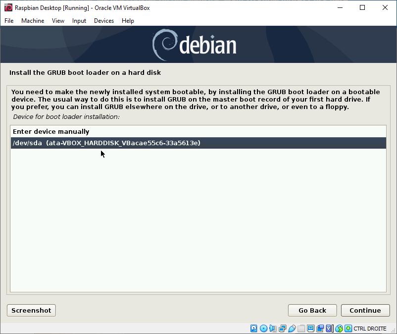 Install GRUB on virtual hard disk
