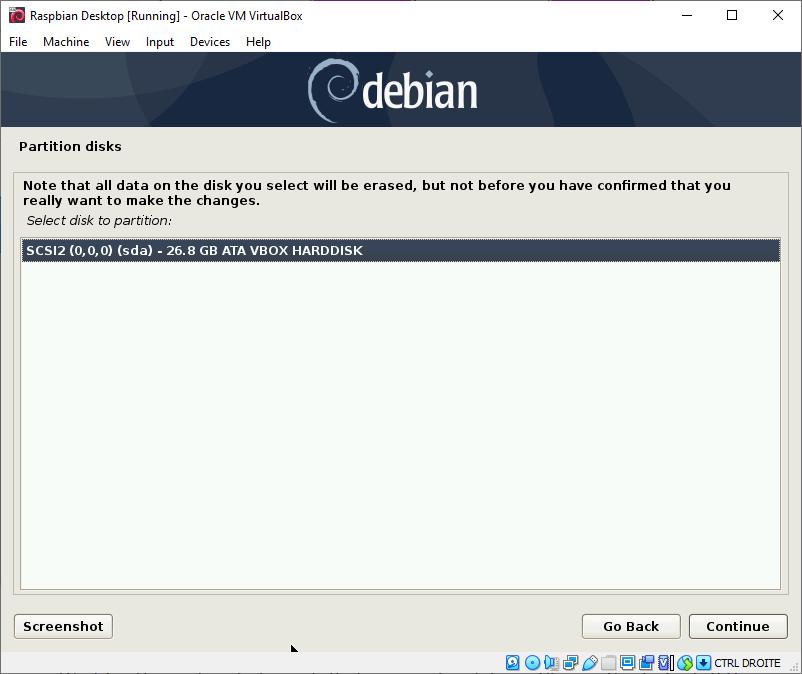 Raspbian Desktop Partition Disks - VirtualBox Hard Disk
