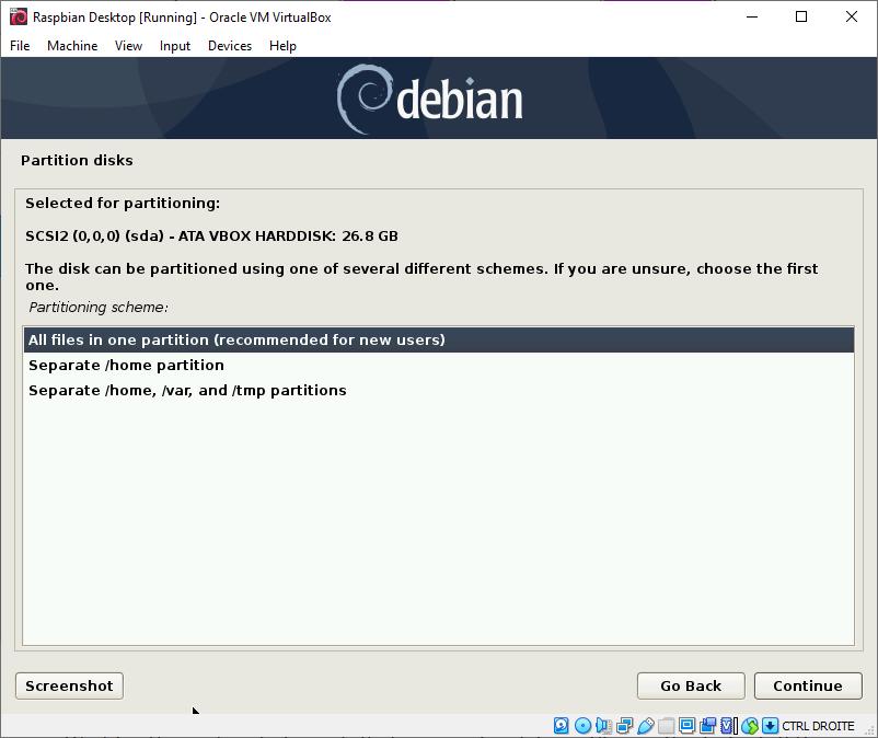 Raspbian Desktop Partitioning