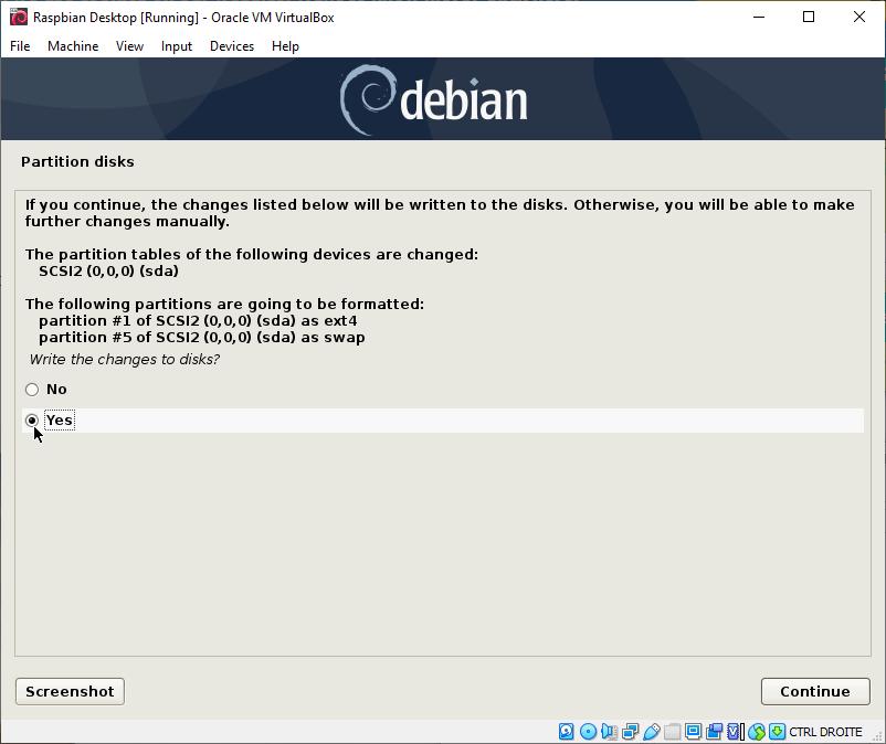 Raspbian Desktop Partitioning Confirmation