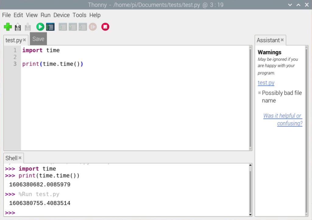 Run a Python program in Thonny IDE