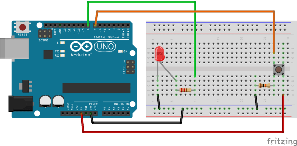 Arduino Circuit - LED and Push Button