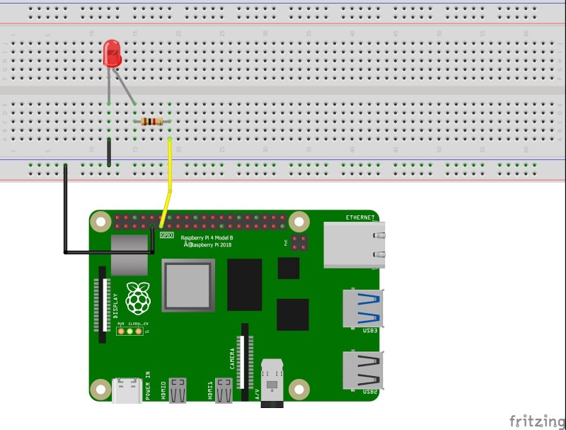 Raspberry Pi 4 circuit with one LED