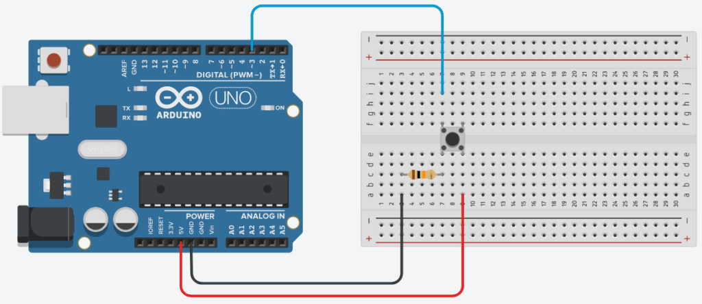 Arduino Push Button Circuit with Interrupt Pin